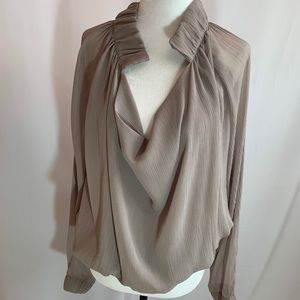 BCBGMaxAzria Long Sleeved Top Taupe XS